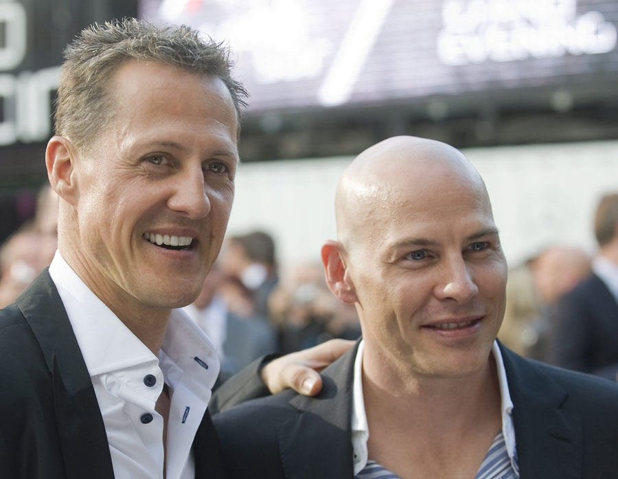Old rivals Michael Schumacher and Jacques Villeneuve at  the opening gala ahead of the Canadian Grand Prix