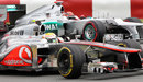 Lewis Hamilton passes Michael Schumacher on track