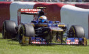 Jean-Eric Vergne slides across the grass in to the barrier in FP3
