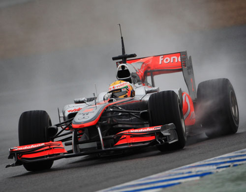Lewis Hamilton slides his McLaren around Jerez