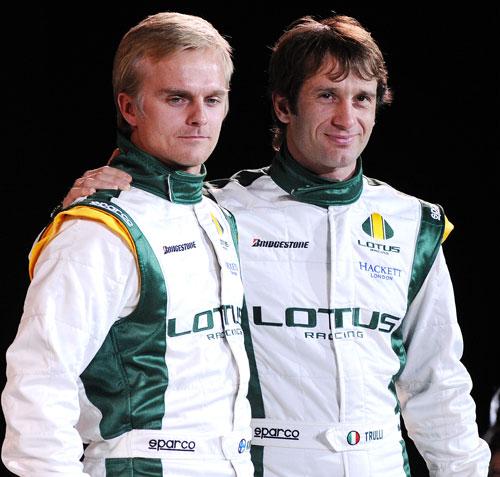 Lotus race drivers Heikki Kovalainen and Jarno Trulli