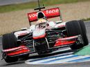 Lewis Hamilton clips the kerbing