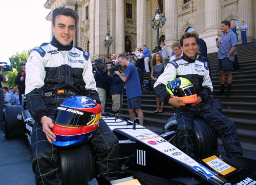 Fernando Alonso and Tarso Marques at the launch of the Minardi PS01