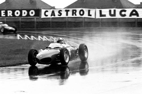 Wolfgang von Trips in his Ferrari 156 on his way to winning the British Grand Prix