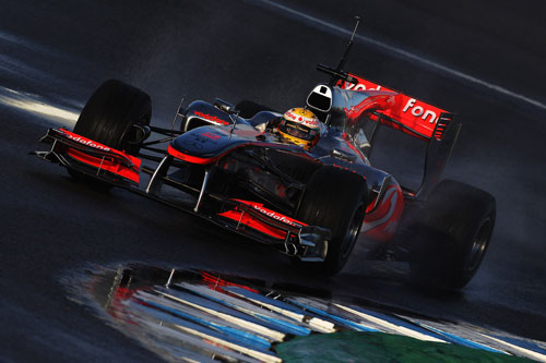 Lewis Hamilton flings his McLaren around Jerez