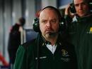 Lotus technical director Mike Gascoyne keeps an eye on testing