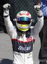 Sergio Perez celebrates in parc ferme