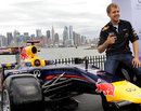 Sebastian Vettel poses in front of the Manhattan skyline