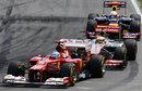 Lewis Hamilton puts pressure on Fernando Alonso