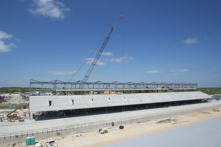 Work continues on the main grandstand at the Circuit of the Americas