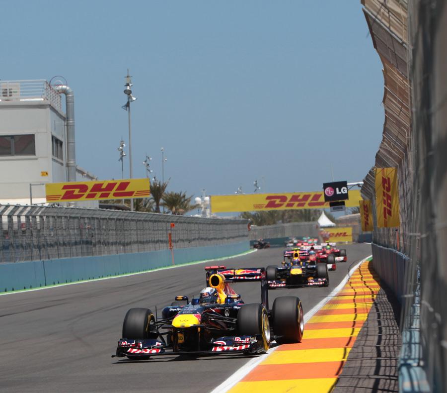 Sebastian Vettel leads in Valencia