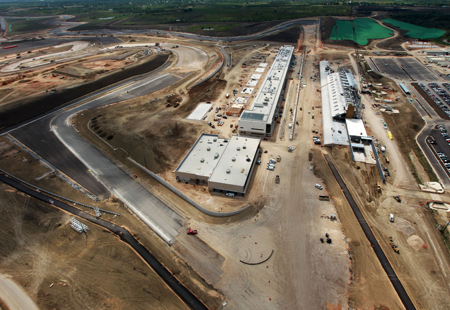 An aerial view as work continues at the Circuit of the Americas