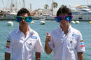 Sergio Perez and Kamui Kobayashi sporting comedy glasses