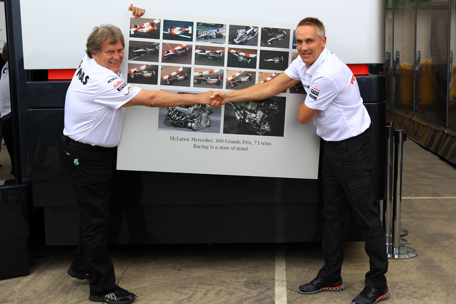 Norbert Haug and Martin Whitmarsh celebrate 300 races for McLaren with Mercedes engines