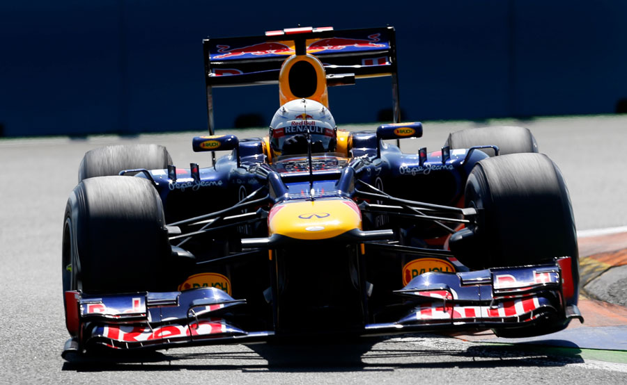 Sebastian Vettel attacks the kerbs in the RB8