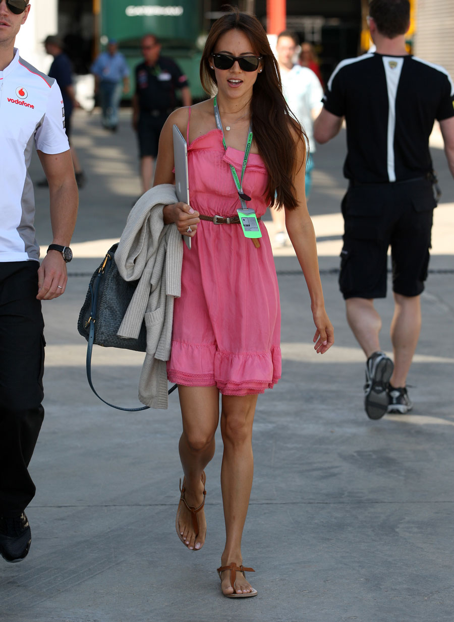 Jessica Michibata arrives in the paddock on race day