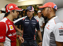 Felipe Massa, Pastor Maldonado and Lewis Hamilton chat ahead of the race