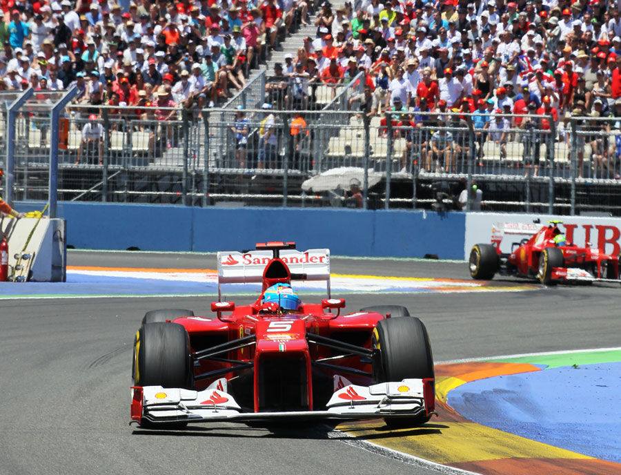 Fernando Alonso leads Ferrari team-mate Felipe Massa