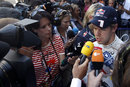 Sebastian Vettel faces the media after his retirement