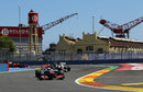 Jenson Button leads Sergio Perez through one of Valencia's chicanes