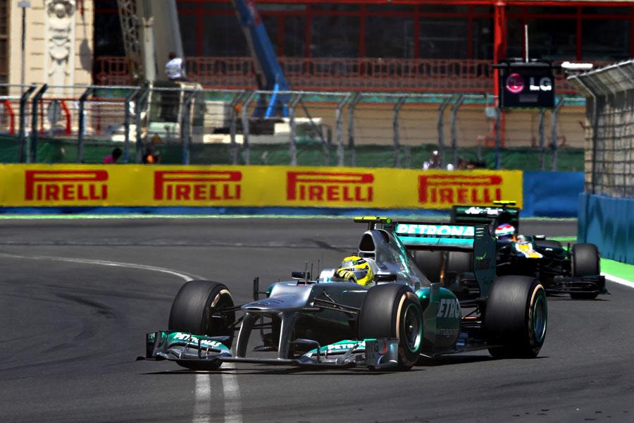 Nico Rosberg leads Vitaly Petrov