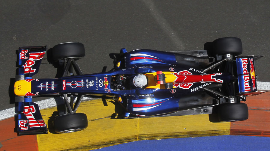 An overhead shot of Sebastian Vettel in action