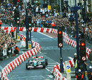 Martin Brundle  in action during the F1 Regent Street parade