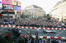 Jenson Button drives his BAR round Piccadilly Circus