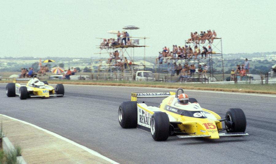 Jean-Pierre Jabouille leads his Renault team-mate Rene Arnoux