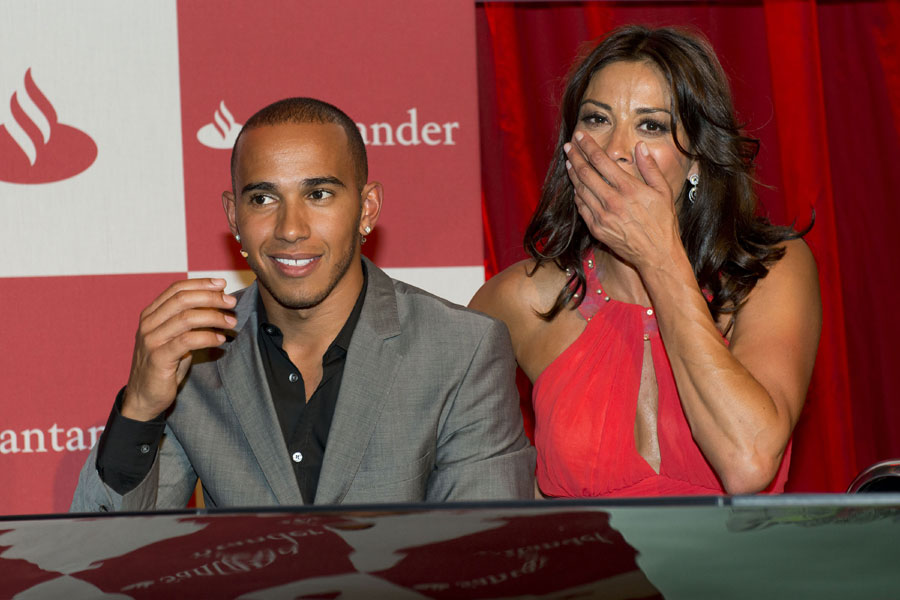 Lewis Hamilton and Melanie Sykes attending the London Grand Prix VIP Event
