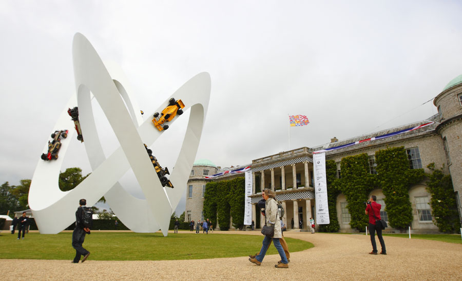 The Lotus sculpture outside Goodwood House