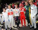Nick Heidfeld, Jenson Button,Sebastian Vettel, Marc Gene, Giedo Van der Garde and Brendon Hartley pose at the Festival of Speed