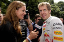 Natalie Pinkham chats with Sebastian Vettel at the Festival of Speed