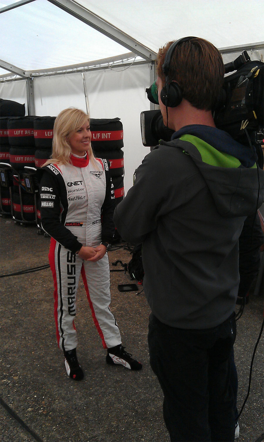 Maria de Villota ahead of her first aero test for Marussia
