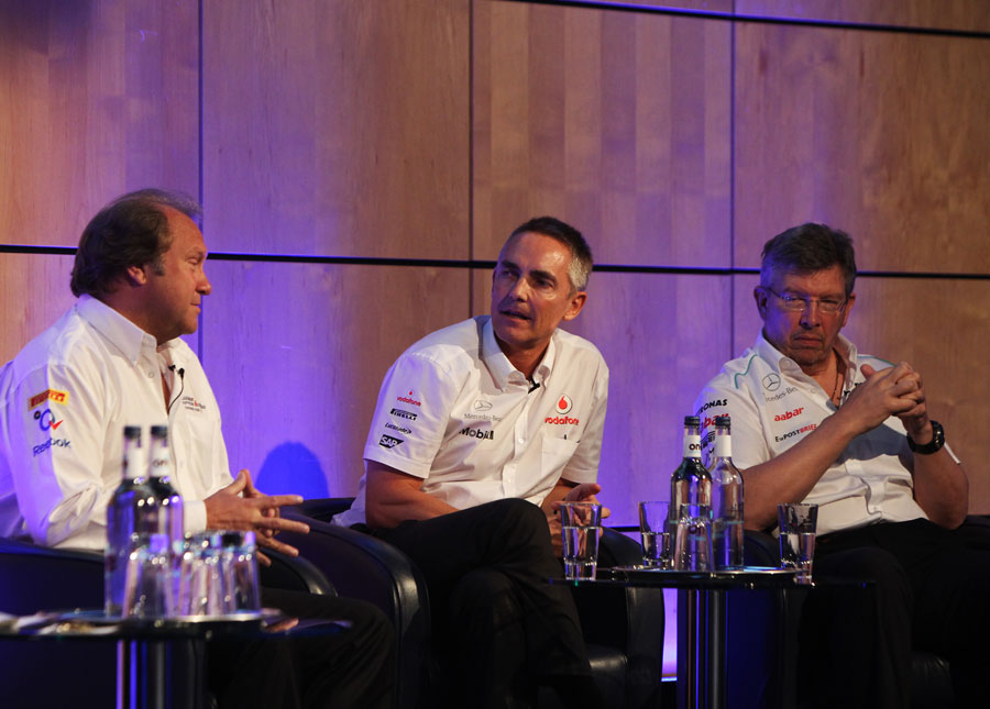 Bob Fernley, Martin Whitmarsh and Ross Brawn chat during the FOTA fans forum