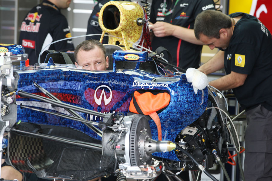 Mechanics work on the Red Bull RB8 carrying a new livery for the Wings for Life charity