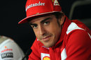 Fernando Alonso faces questions from the media in the press conference