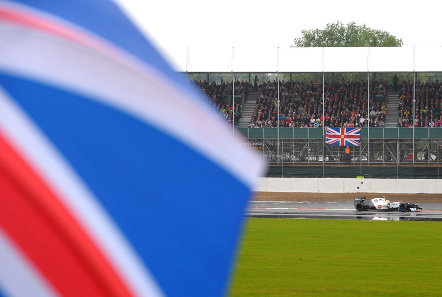 Sergio Perez on track during a wet FP1