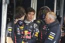 Mark Webber keeps an eye on the skies