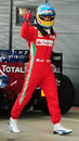 Fernando Alonso celebrates his pole position