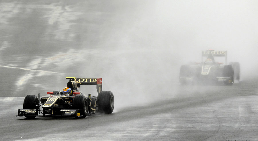 Esteban Gutierrez on his way to victory in the wet