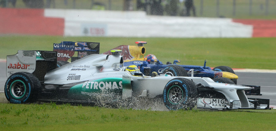 Nico Rosberg finds a short cut rather damp