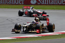 Kimi Raikkonen leads Lewis Hamilton