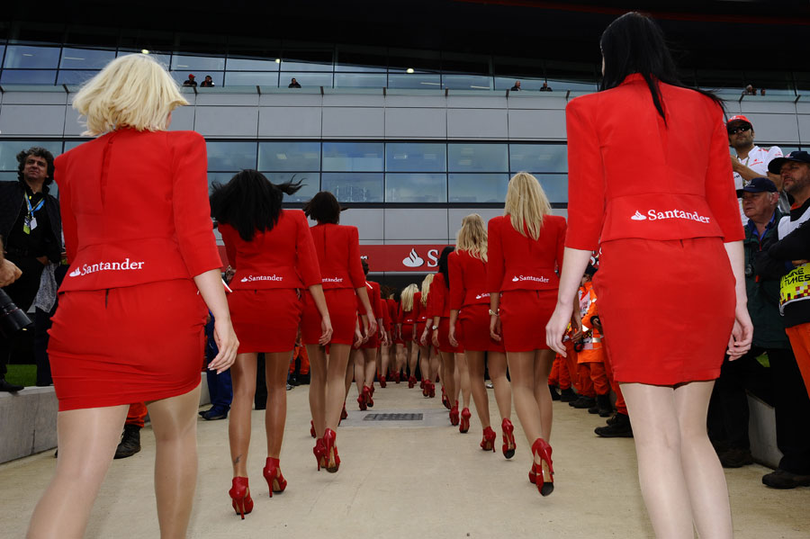 Grid girls march back to the paddock
