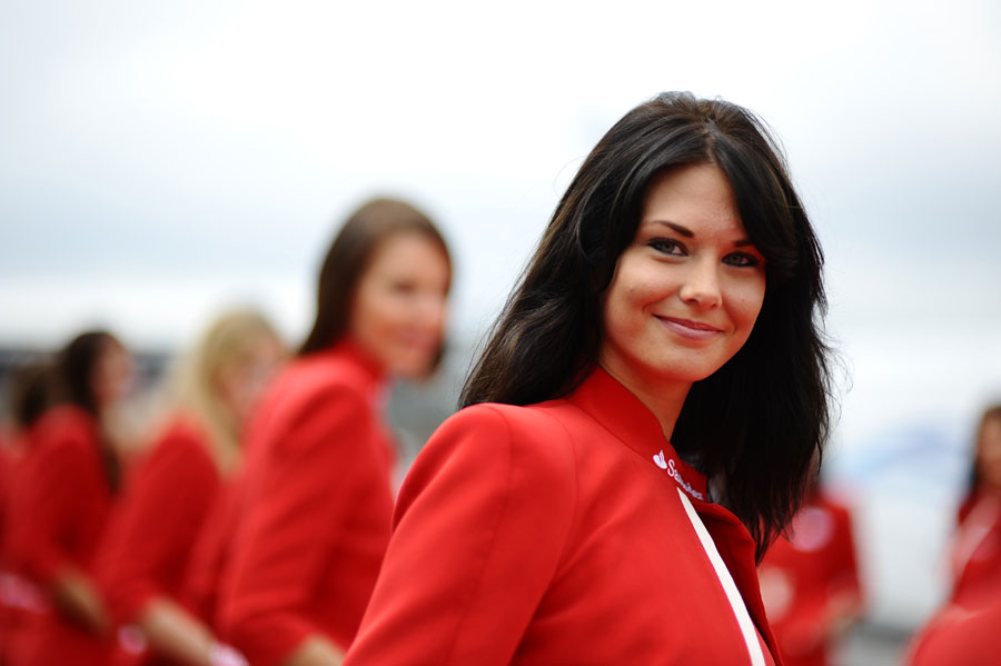 A grid girl at SIlverstone