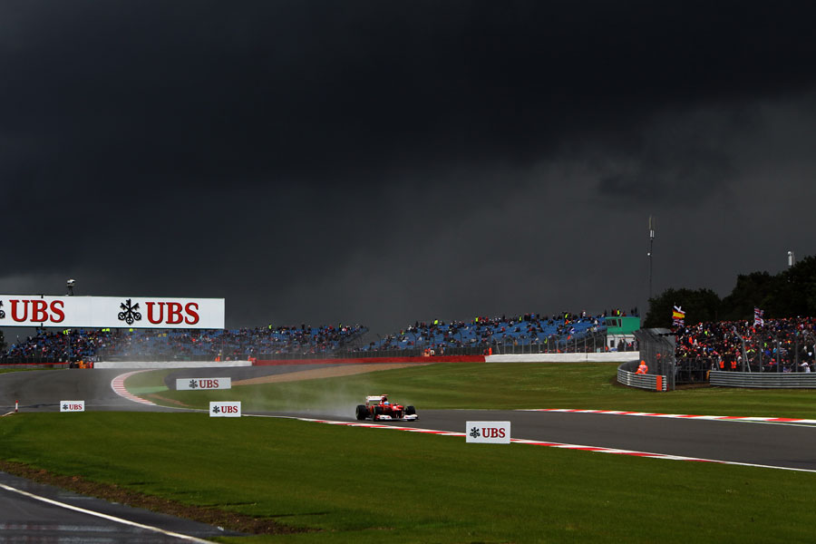 Fernando Alonso under threatening skies at the end of qualifying