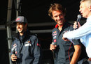 Daniel Ricciardo and Jean-Eric Vergne on stage after the race