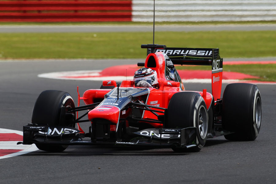 Max Chilton attacks the circuit in the Marussia