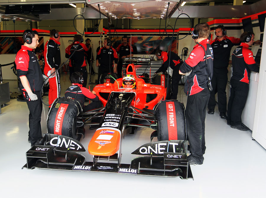 Rio Haryanto waits to go out in the Marussia