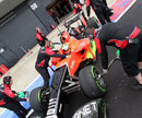 Rio Haryanto returns to the garage after carrying out some aero tests for Marussia